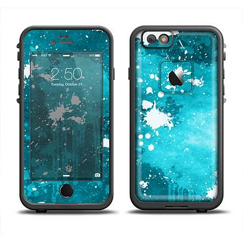 The Abstract Bleu Paint Splatter Skin Set for the Apple iPhone 6 LifeProof Fre Case