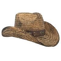 Rustic Country Straw Shapeable Cowboy Hat w/ Band / Beads