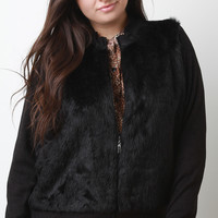 Fur And Ribbed Knit Zip-Up Jacket