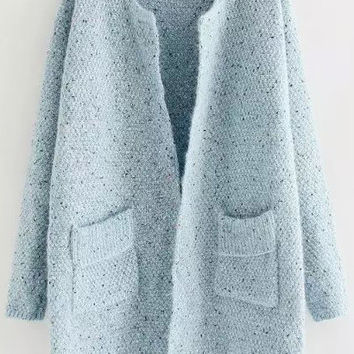 Blue Long Pale Coat with Pockets