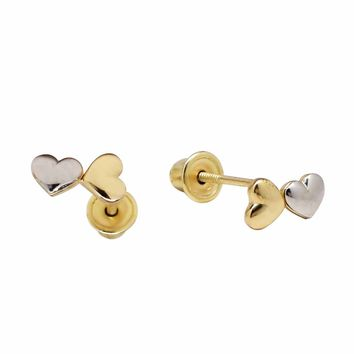 10K Solid Gold Double Heart Studs