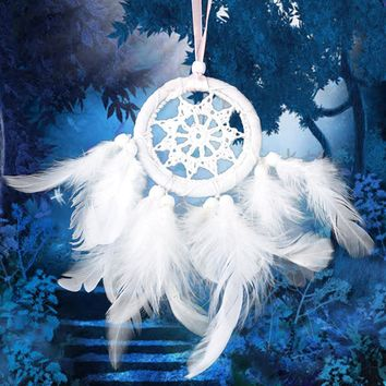 Creative Vintage Handmade White Dream Catcher Net With Black Feathers Beaded Pendant Wall Hanging Woodwork Gift Home Accessories