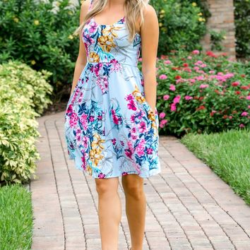 Hello Beautiful Blue Floral Dress - Simply Me Boutique SMB – Simply Me Boutique