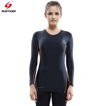Run Tiger Women Long Sleeve Compression Shirt