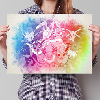 Evee  Evolutions Pokemon Anime Manga Watercolor Poster Print Art Wall Decor Gift  no340