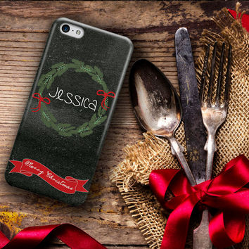 Holiday Iphone 5 case, Christmas wreath with ribbon, Christmas Iphone 4 case, Xmas Iphone 5c case, Christmas gift for self  (1155)