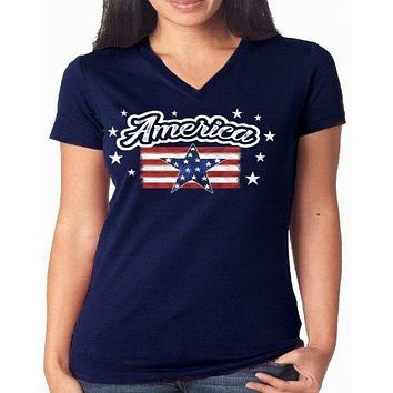 Southern Attitude Preppy USA Flag Tortuga Moon V-Neck T-Shirt