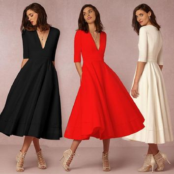 3XL Plus Size Clos Party Womens Autumn Slim Dresses Deep V Neck Fit Flare Mid-calf Dress Pockets