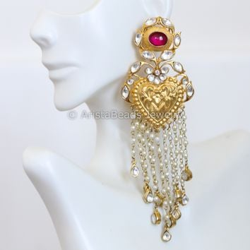Kundan Pearl Jadau Tassel Earrings