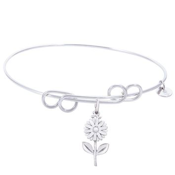Sterling Silver Carefree Bangle Bracelet With Daisy Charm