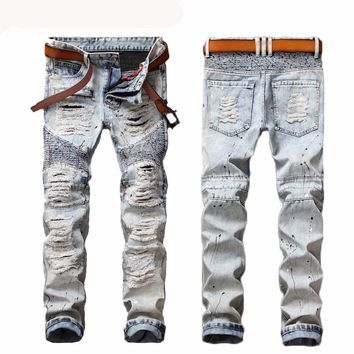 Ripped Biker Bleached Blue Jeans  Distressed Slim Fit