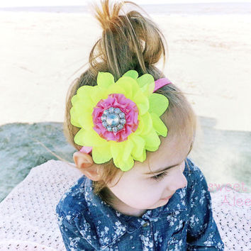 Neon Baby Headbands, Hot Pink Neon Yellow Headband, Big Flower Headbands, Infant Hair Bows, Cute Summer Headbands, Toddler Hairband, Hairbow