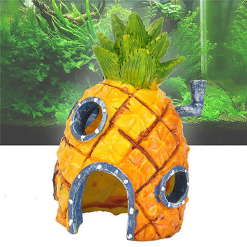 Spongebob Squarepants Resin Pineapple House Fish Tank For Fish To Swim Through And Explore Aquarium Ornament Home Decor 13x7cm