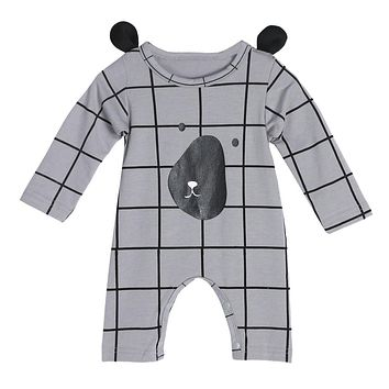 Baby Cartoon Romper Infant Toddler Kids Cute Dog Rompers Plaid Jumpsuit Boys Girls Fashion Outfit Clothes