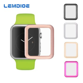LEMDIOE Full Coverage Tempered Glass For Apple Watch 38mm 42mm Screen Protector Premium Guard Glass-metal Film for iWatch
