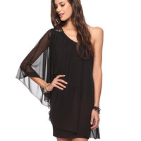Chain Trim Asymmetrical Dress