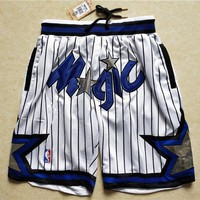 Just Don Orlando Magic Vintage Embroidered Pocket Zipper Basketball Swingman Shorts White - Best Deal Online