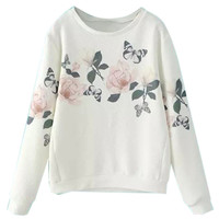 White Floral Print Long Sleeve Sweatshirt