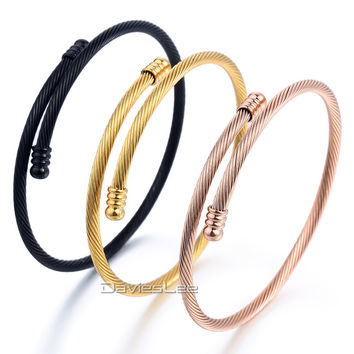 Unisex Stainless Steel Multi-Color Twist Rope Bracelet