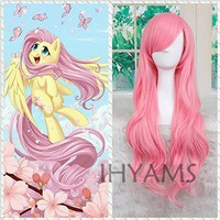 Cool My Little Pony Fluttershy Wig Halloween Pink Wig Party Cosplay Wig Fluttershy Costume + Wig CapAT_93_12