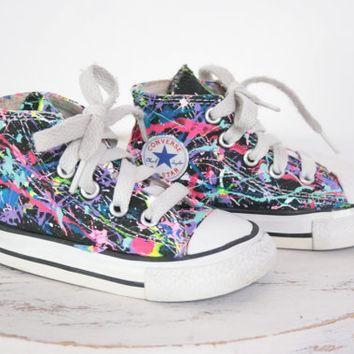 Baby HighTop or LowTop Splatter Painted Converse or Vans Sneakers Infant Size 0-3, Cus