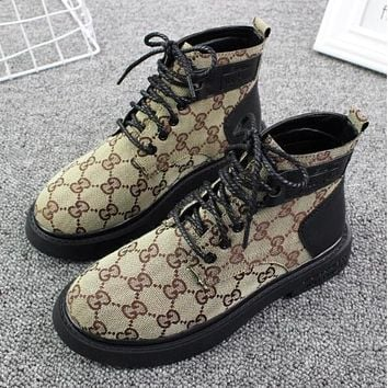 GUCCI Autumn Winter Trending Women Stylish High Top Canvas Thick Soles Martin Boots Shoes Khaki