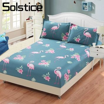 Solstice Home Textile Flamingo Blue Bedding Fitted Sheet 100%Cotton King Queen Single Size Girl Kid Bed Mattress Cover Protector