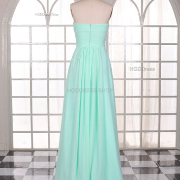 Mint Prom Dresses Fashion Long Chiffon Bridesmaid Dress sleeveless Formal Dress Long Evening Party Dress With Pleats Ruching