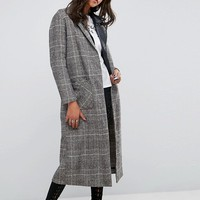 Glamorous Smart Overcoat In Check at asos.com