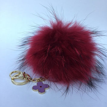 Fur Pom Pom keychain luxury bag charm pendant clover flower keychain keyring in red with natural tips