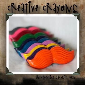 MUSTACHE - shaped crayons - birthday party favors - baby shower favors - christmas stocking stuffers