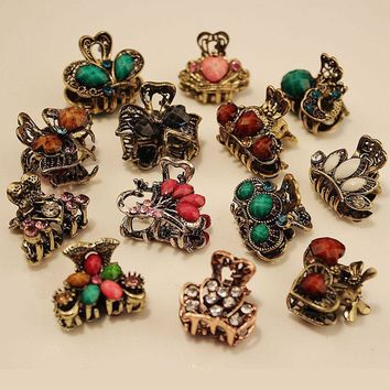 Random!!1PC Vintage Metal Butterfly Small Mini Hair Clip Claw Clamp Retro Crystal Rhinestone Hairpin Jewelry Hair Accessories