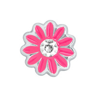 Pink Flower with Clear Crystal Floating Charm on Silver