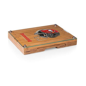 Tampa Bay Buccaneers - Concerto Glass Top Cheese Board & Tools Set