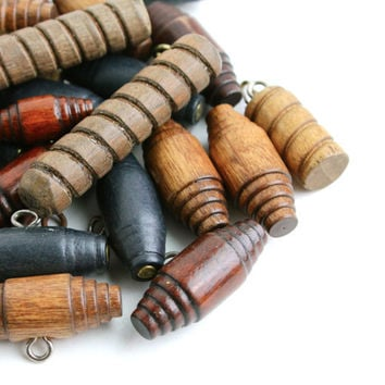 Vintage Wooden Button Lot -  27 Barrel Shank Toggle Wood Buttons for Crafting, Mending Clothing / Oblong Browns & Blacks