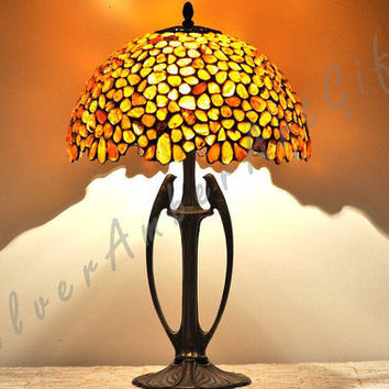 Birds Paradise - big spherical amber lamp made Tiffany technique.