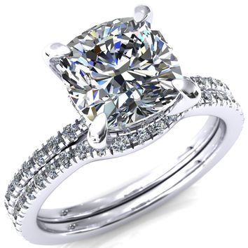 Mayeli Cushion Moissanite 4 Claw Prong Micro Pave Diamond Sides Engagement Ring