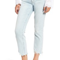 Current/Elliott The Cropped Straight Leg Jeans (Cascade) | Nordstrom