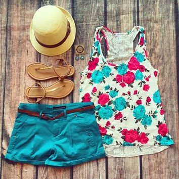 """Fancy Florals"" Tank"