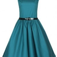 Lindy Bop Classy Vintage Audrey Hepburn Style 1950's Rockabilly Swing Evening Dress (L, Pine Green)