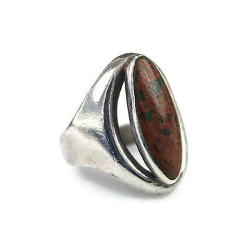 Mexican Sterling Ring, Silver 925, Jasper Stone, Mexico MBV Eagle 3, Modernist Jewelry, Vintage Ring, Size 7.25 to 7.5