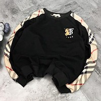 Burberry New fashion plaid embroidery letter couple sweater top Black
