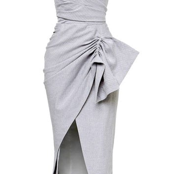 Maticevski Contoured Strapless Dress In Cotton Blend Paper