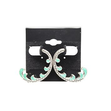 Turquoise Half Loop Silver Plated Stud Fashion Earrings