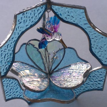 3D Stained Glass Suncatcher Flower and Hummingbird Gift Pink Turquoise Blue Brown Green Sun Catcher Table Ornament Home Decor Blown Glass