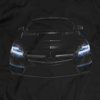 Mercedes CLS 63 AMG Headlights Glow T-Shirt Men Gift Idea Awsome Benz Car Lights On Black T Shirt Garment Apparel