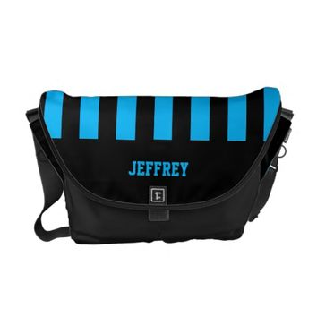 Personalized Messenger Bag, Any Name, Blue & Black Courier Bag