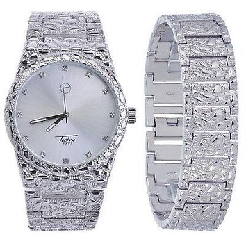 Jewelry Kay style Men's Nugget Analog Iced Out CZ Heavy Metal Band Watch & Bracelet SET WM 8364 S