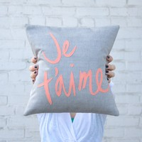 Coral Je T'Aime Pillow | BRIKA - A Well-Crafted Life