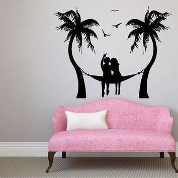 Palms Wall Decals Seaside Beach Sea Gull Hammock Love Man Woman Vinyl Decal Sticker Bath Interior Design Art Living Room Bedroom Decor KG841